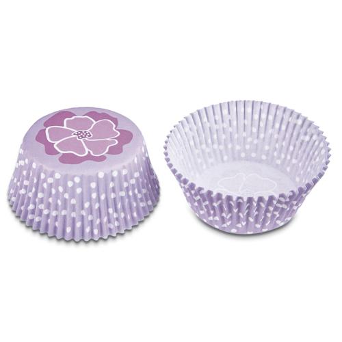 50 cápsulas lilas con lunares blancos+flor