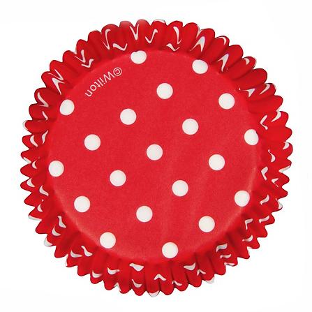 75 cápsulas rojas con lunares blancos