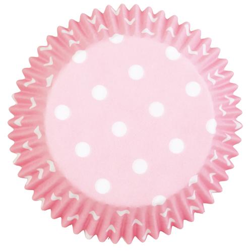 75 cápsulas rosa con lunares blancos