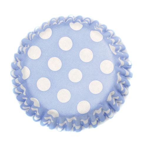 Cápsulas de papel azules con lunares blancos