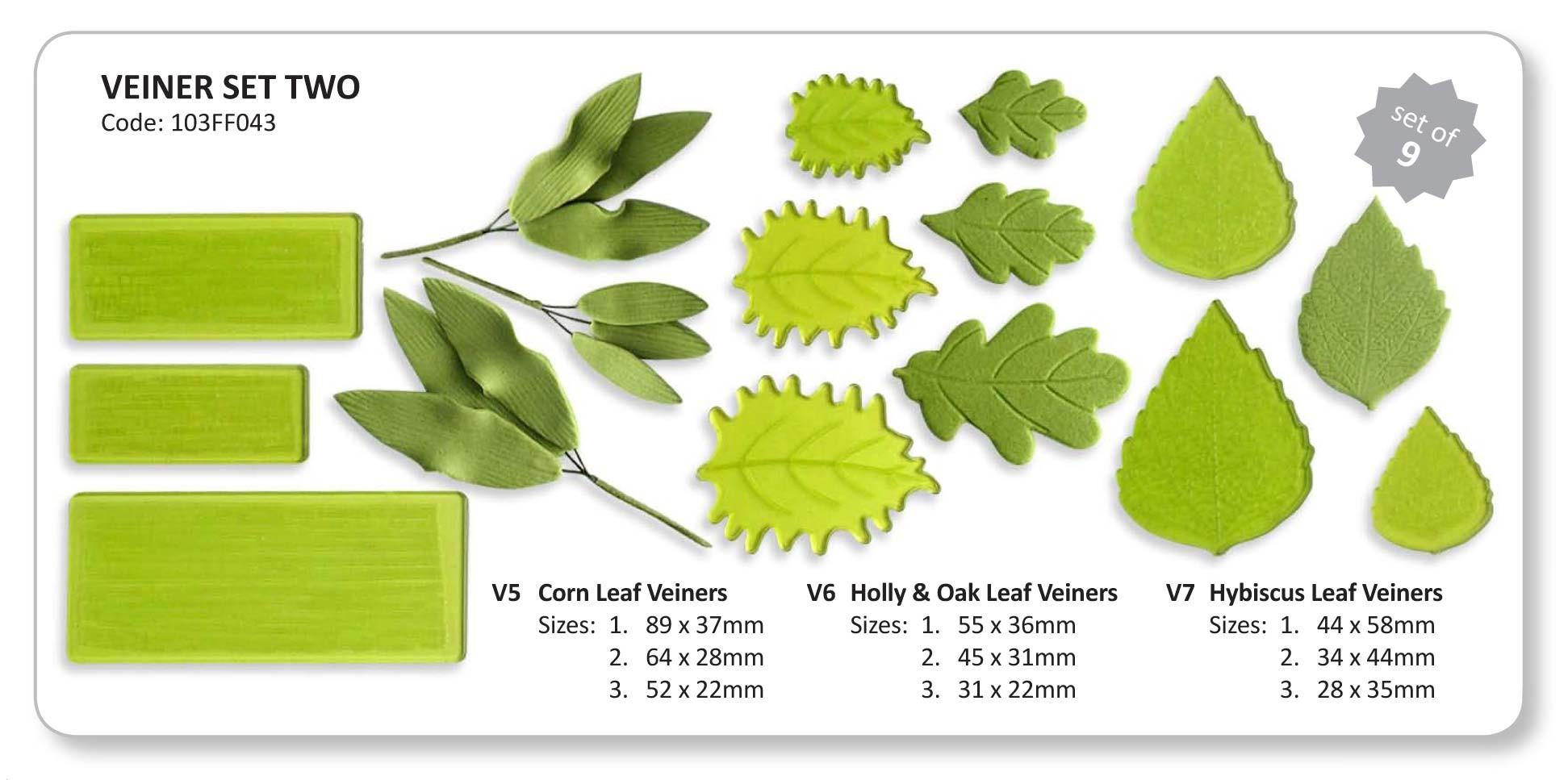 Set 9 texturizadores hojas