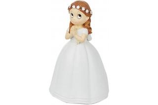 Figura Pastel Niña Comunión -Corona Flores-